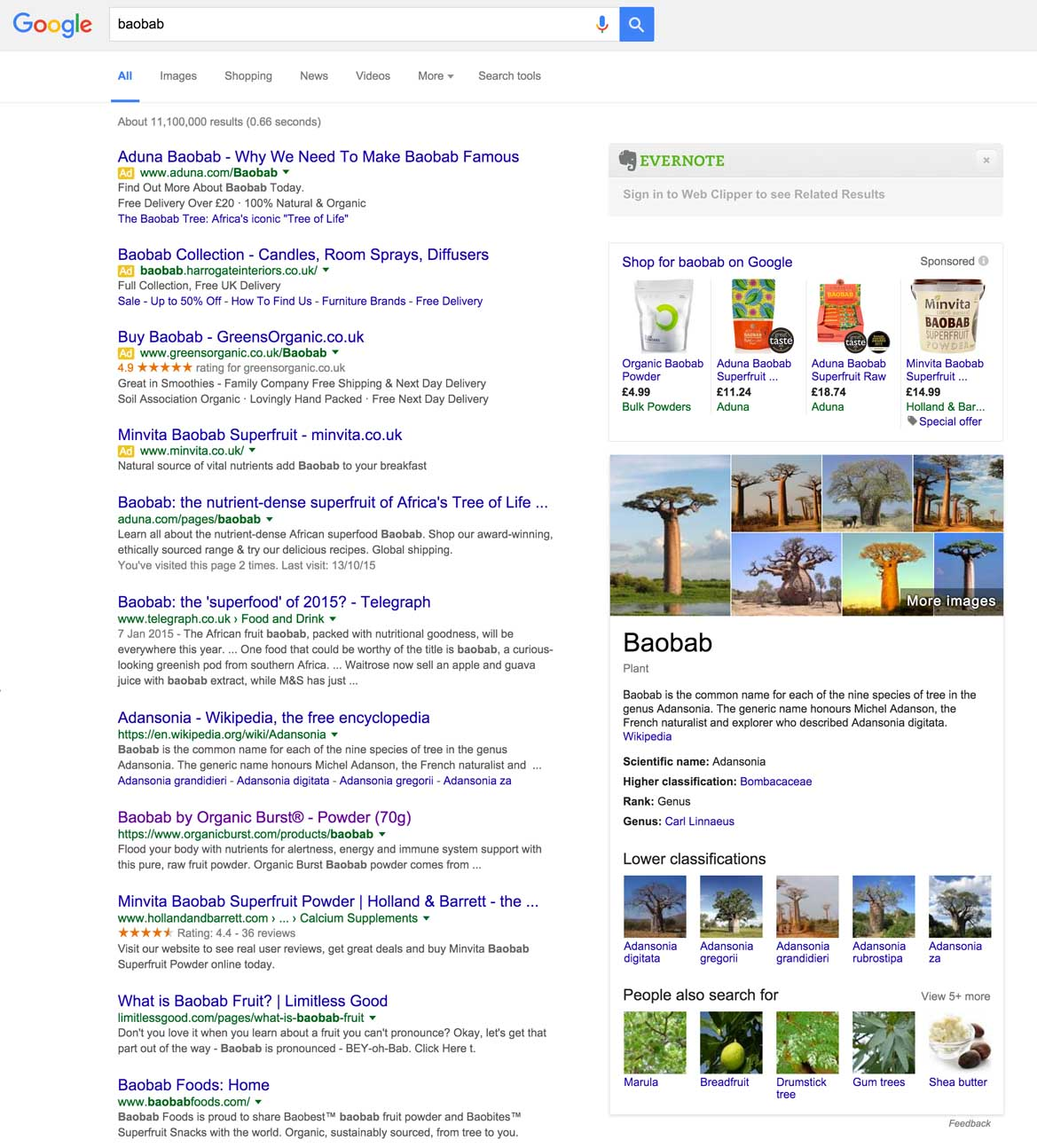 Baobab search results